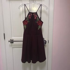 burgundy dress with floral print